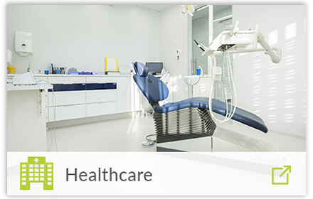 modern dental clinic with healthcare icon overlayed